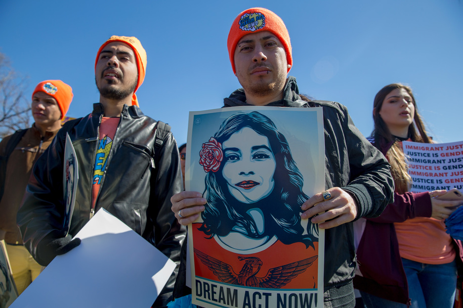 WASHINGTON, DC - MARCH 05: Pro DACA and Dreamer supporters march at US Capital on March 5, 2018 in Washington, DC. (Photo by Tasos Katopodis/Getty Images for MoveOn.org)