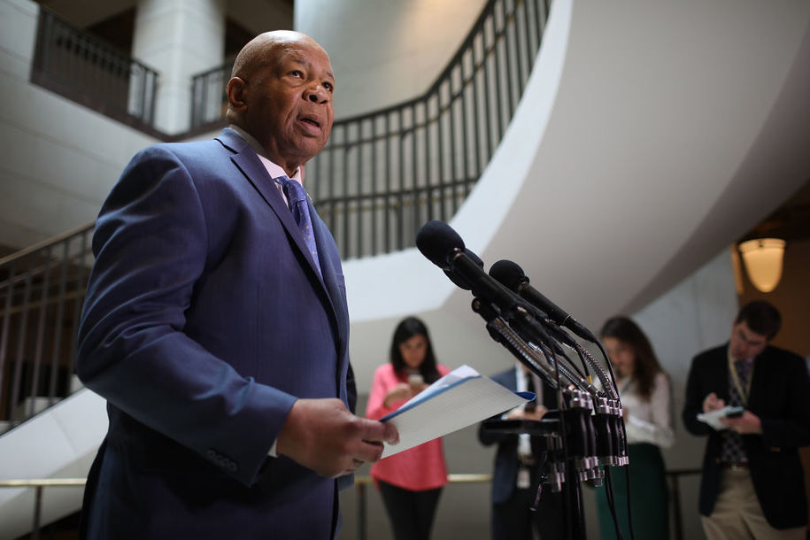 WASHINGTON, DC - APRIL 25: House Oversight Committee ranking member Rep. Elijah Cummings (D-MD) speaks to reporters about U.S. President Donald Trump's former National Security Advisor Gen. Michael Flynn April 25, 2017 in Washington, DC. Chaffetz and Cummings said they have seen no evidence that Flynn complied with U.S. law for receiving permission for foreign payments from Russia or for reporting those payments. (Photo by Win McNamee/Getty Images)