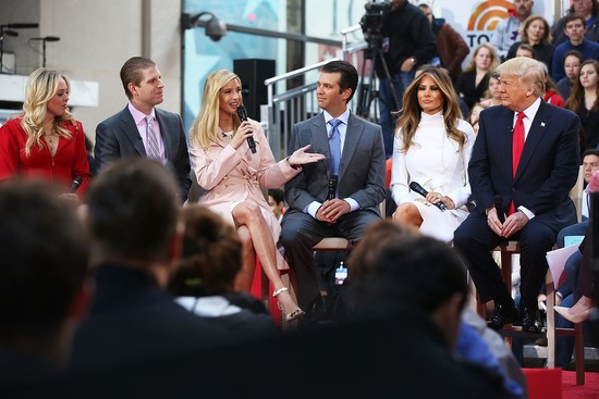 daughter Tiffany, son Eric, daughter Ivanka and son Donald Trump Jr.while appearing at an NBC Town Hall at the Today Show on April 21, 2016 in New York City.  The GOP front runner appeared with his wife and family and took questions from audience members.  (Photo by Spencer Platt/Getty Images)