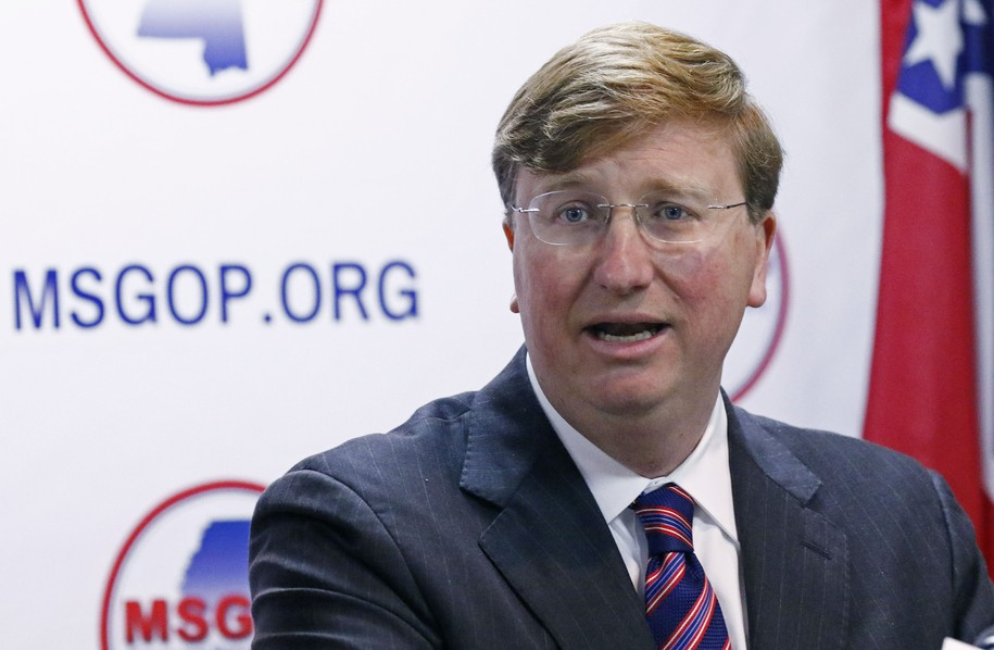 FILE - In this Jan. 3, 2019, file photo, Mississippi Lt. Gov. Tate Reeves announces his candidacy for governor during a news conference at the state GOP headquarters in Jackson, Miss. While in college in the 1990s, Reeves took part in his fraternity's Old South parties. And at such Kappa Alpha parties, members often wore Confederate costumes, a common practice among chapters in the South. (AP Photo/Rogelio V. Solis)