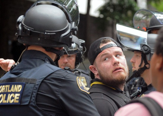 Ethan Nordean being arrested by Portland Police