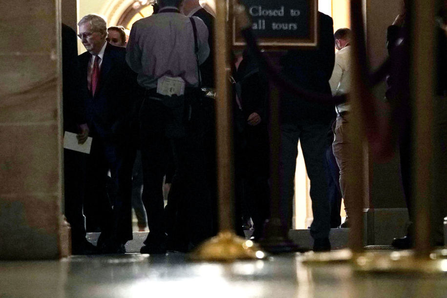WASHINGTON, DC - JANUARY 24: U.S. Senate Majority Leader Sen. Mitch McConnell (R-KY) walks back to his office from the Senate chamber after voting January 24, 2019 at the U.S. Capitol in Washington, DC. The Senate has failed to pass two procedural votes, one proposed by Republicans and the other proposed by the Democrats, to re-open the government. (Photo by Alex Wong/Getty Images)