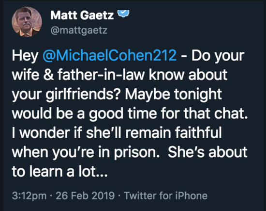 Matt Gaetz tweet threatening Michael Cohen.