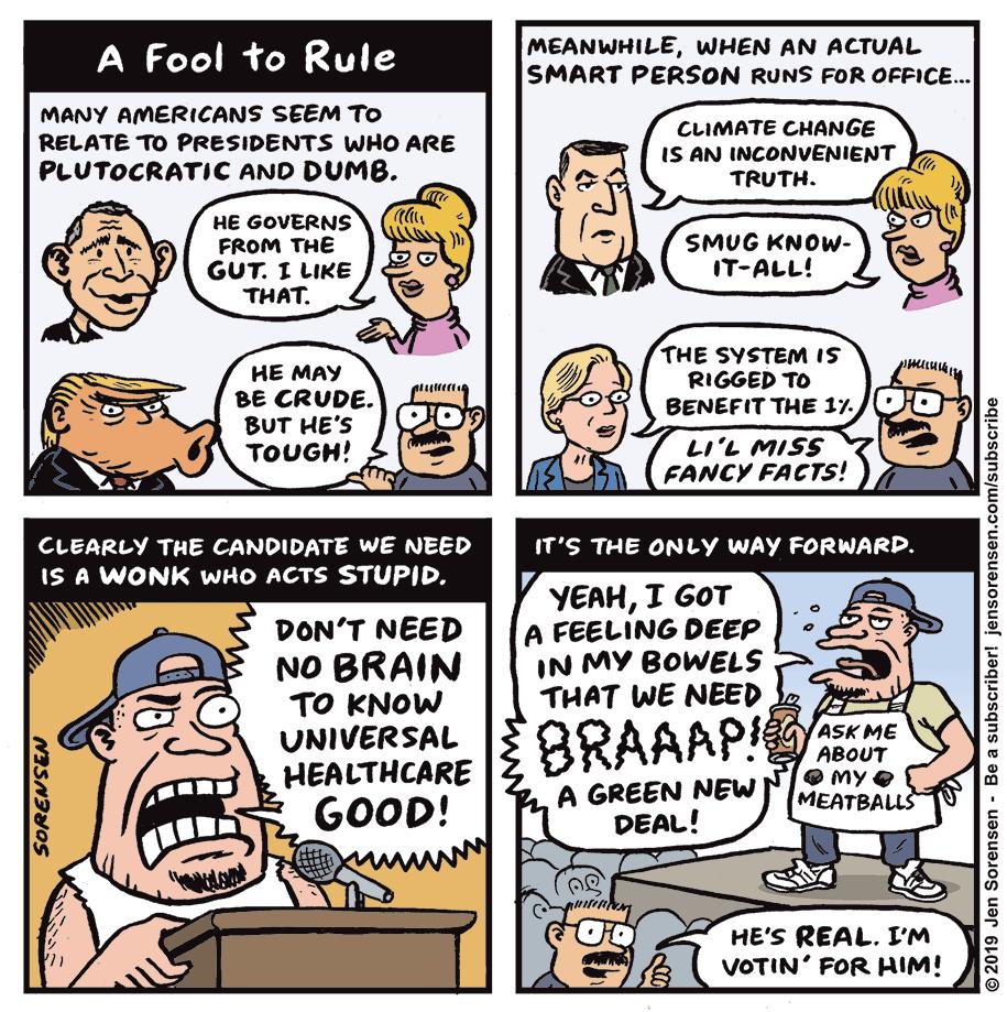cartoon about anti-intellectualism in US politics