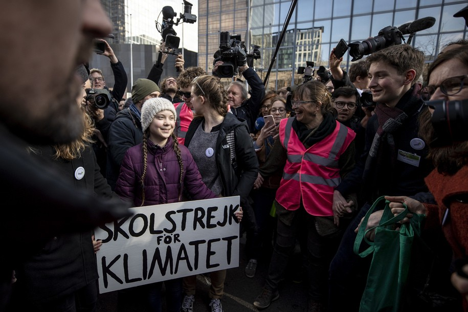 BRUSSELS, BELGIUM - FEBRUARY 21: Greta Thunberg, climate activist attends 7th Brussels youth climate march on February 21, 2019 in Brussels, Belgium. (Photo by Maja Hitij/Getty Images)