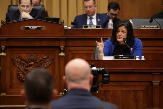 WASHINGTON, DC - FEBRUARY 08:  House Judiciary Committee member Rep. Pramila Jayapal (D-WA) questions Acting U.S. Attorney General Matthew Whitaker during an oversight hearing in the Rayburn House Office Building on Capitol Hill February 08, 2019 in Washington, DC. Following a subpoena fight between committee Chairman Jerrold Nadler (D-NY) and the Justice Department, Whitaker was questioned about his oversight of special counsel Robert Mueller's investigation into Russian meddling in the 2016 presidential election. (Photo by Chip Somodevilla/Getty Images)