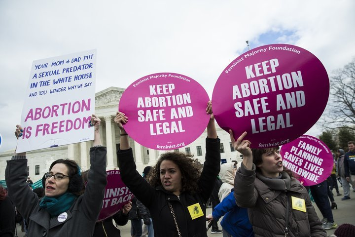 WASHINGTON, USA - JANUARY 27: Pro-Choice supporters try to block Pro-Life demonstrators in front of the Supreme Court during the annual March for Life on the anniversary of the historic Roe v. Wade Supreme Court ruling in Washington, USA on January 27, 2017... (Photo by Samuel Corum/Anadolu Agency/Getty Images)