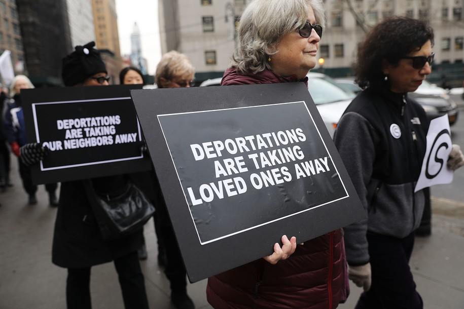 NEW YORK, NY - JANUARY 11: Hundreds of immigration activists, clergy members and others participate in a protest against President Donald Trump's immigration policies in front of the Federal Building on January 11, 2018 in New York City. As the Trump administration continues to focus their attention on deportations and the building of a new wall along the Mexican and American border, Immigration and Customs Enforcement (ICE) arrests are up. From late January through August 2017, arrests by ICE were up more than 43 percent since the same period in 2016. (Photo by Spencer Platt/Getty Images)
