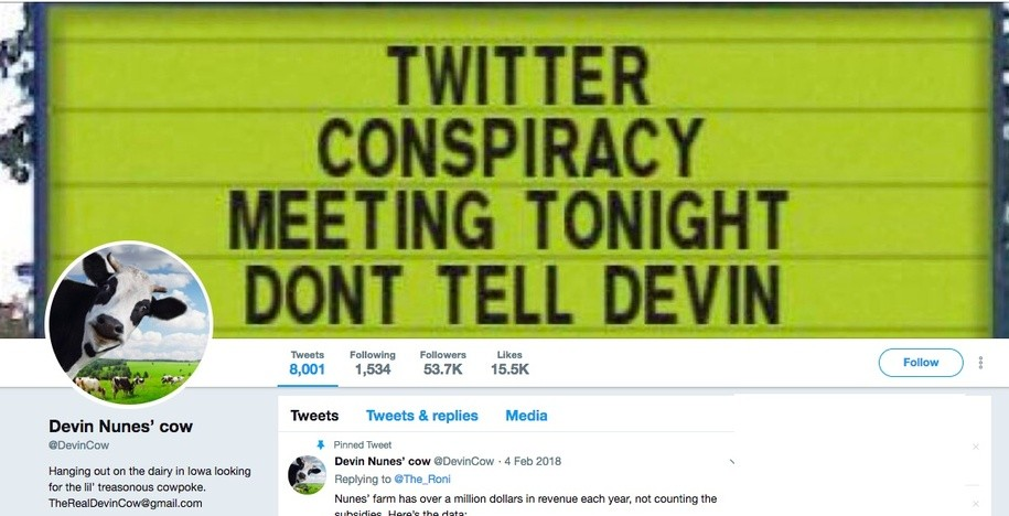 Devin Nunes' Cow now has more followers than Devin Nunes, thanks to boost from Twitter lawsuit
