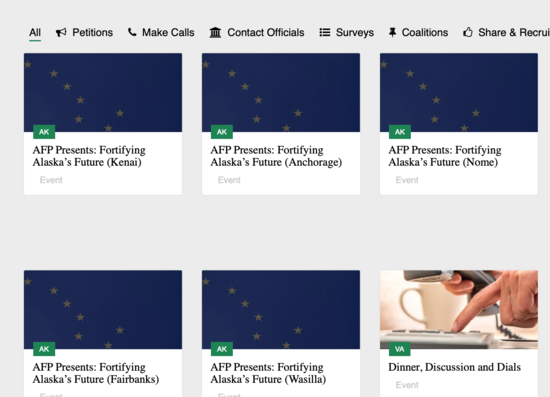 Screenshot showing five of the six forums AFP are sponsoring about Alaska