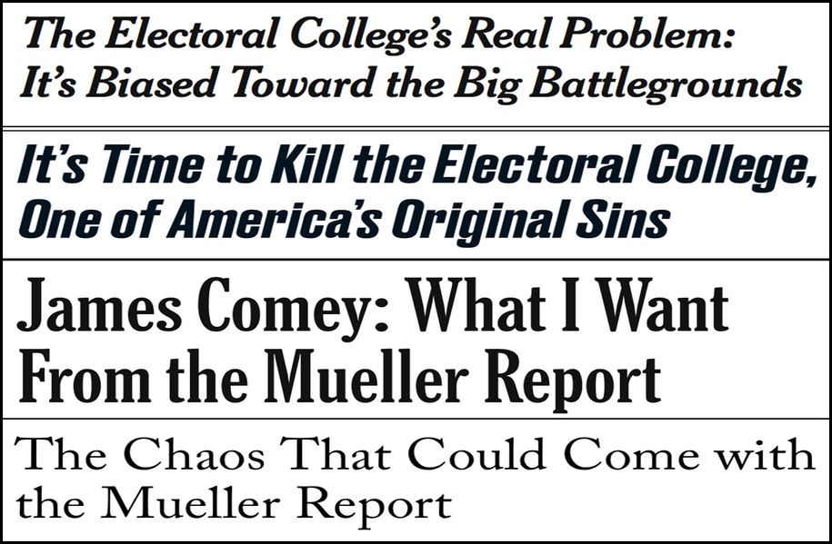 Abbreviated pundit roundup: Reforming the Electoral College, waiting for the Mueller report and more