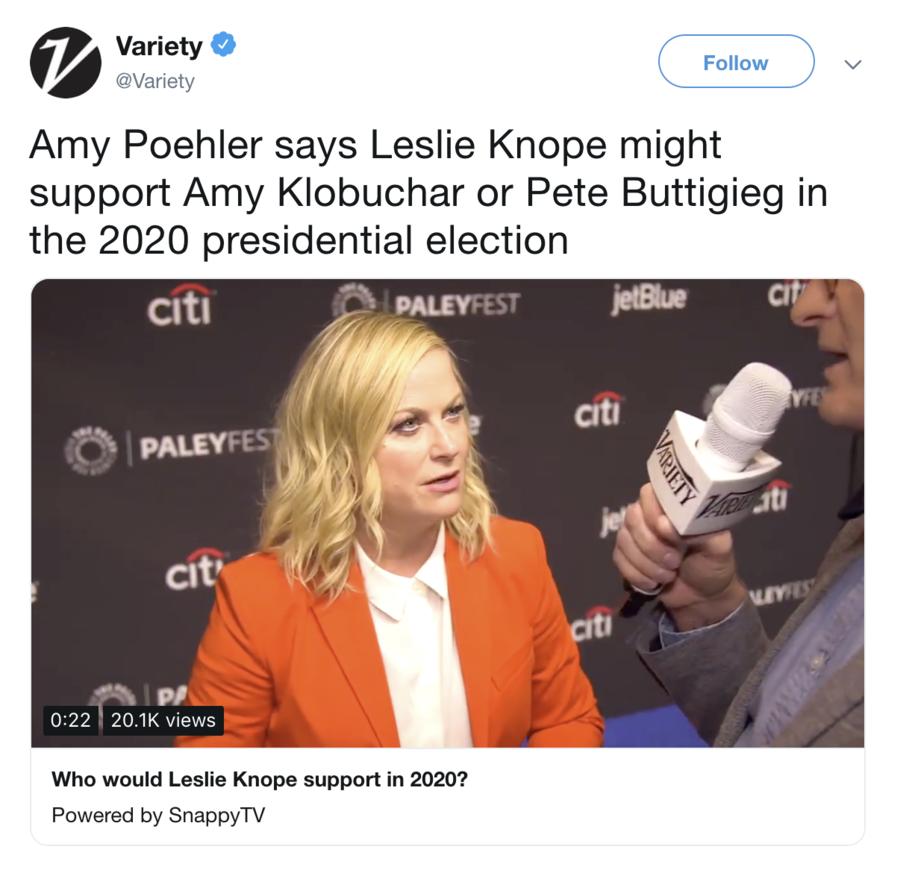 Leslie Knope Endorses Buttigieg, He Tweets Response