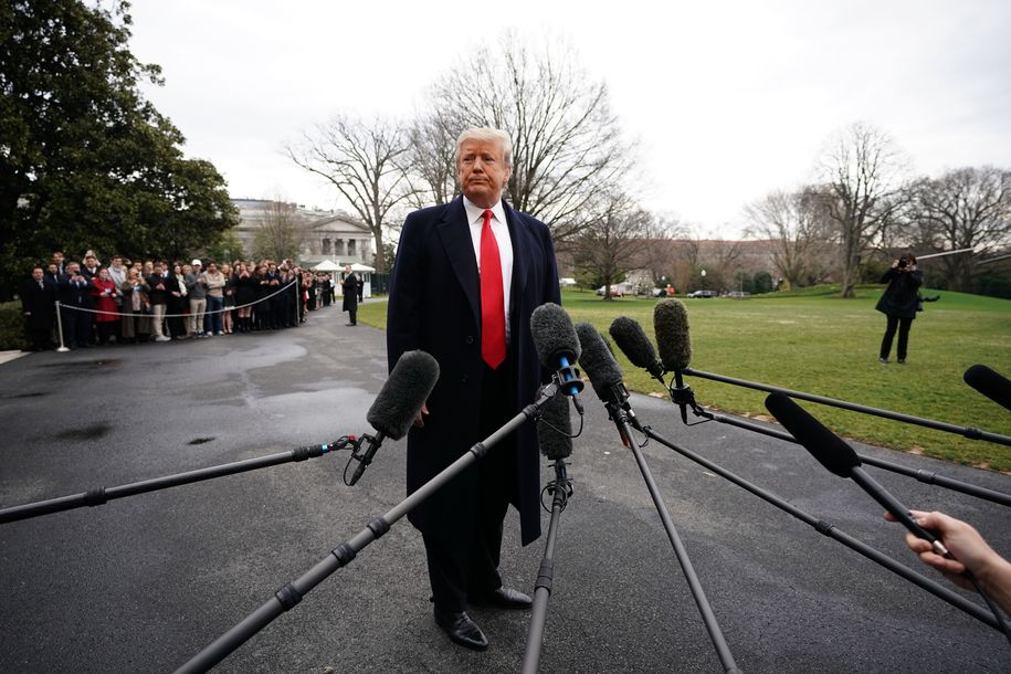 US President Donald Trump speaks to the press before boarding Marine One as he departs from the South Lawn of the White House in Washington, DC on March 22, 2019. - Trump is heading to Florida for meeting with Caribbean leaders at his Mar-a-Lago estate. (Photo by Mandel NGAN / AFP) (Photo credit should read MANDEL NGAN/AFP/Getty Images)