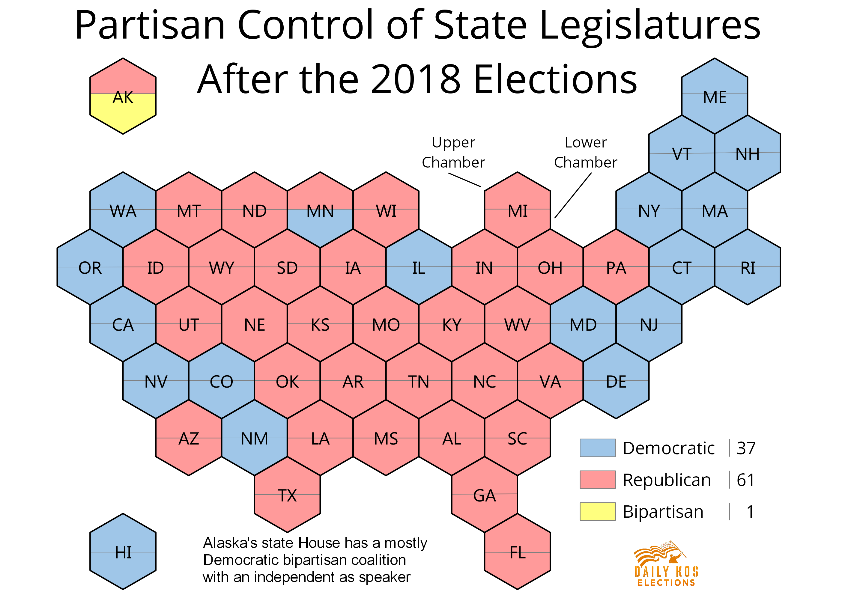 These maps show when each state legislative chamber is up