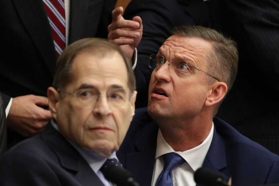 WASHINGTON, DC - FEBRUARY 08: Committee chairman Rep. Jerrold Nadler (D-NY) (L) argues with ranking member Rep. Doug Collins (R-GA) (R) during a hearing before the House Judiciary Committee in the Rayburn House Office Building on Capitol Hill February 08, 2019 in Washington, DC. Following a subpoena fight between committee Chairman Jerrold Nadler (D-NY) and the Justice Department, Acting U.S. Attorney General Matthew Whitaker was questioned about his oversight of special counsel Robert Mueller's investigation into Russian meddling in the 2016 presidential election. (Photo by Alex Wong/Getty Images)