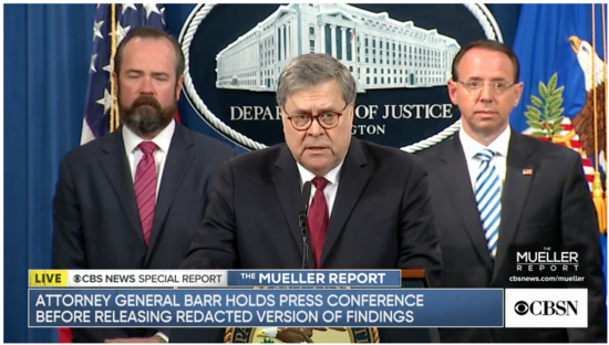 Bill Barr press conference before the release of the redacted Mueller Report