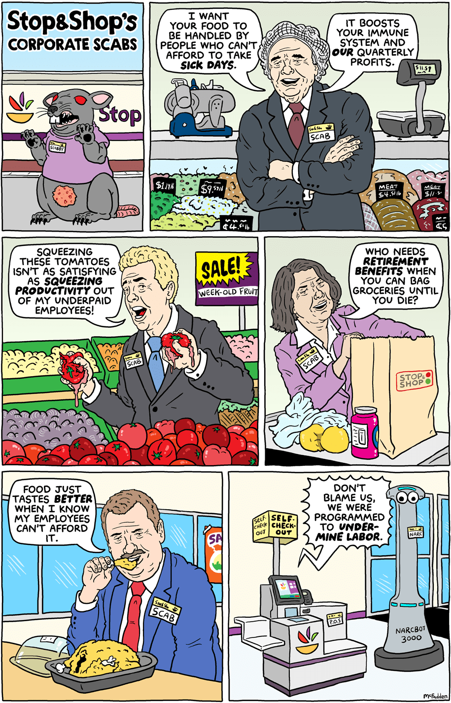 Cartoon: Stop & Shop's corporate scabs