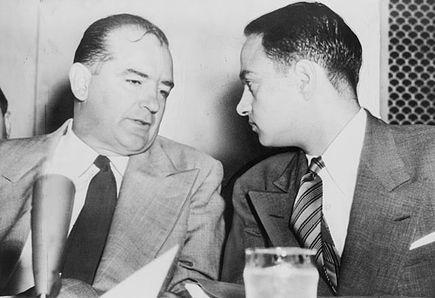 Senator Joseph McCarthy and attorney Roy Cohn during the 1954 Senate Army-Mccarthy hearings