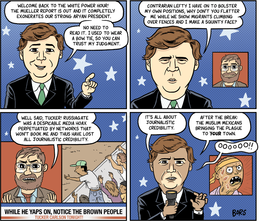 Cartoon: The white power hour with Tucker Carlson