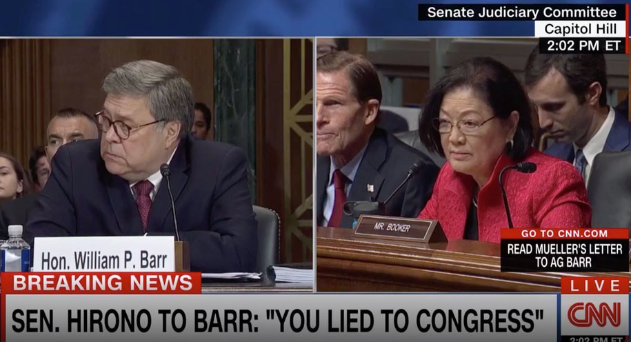 Hirono tells Barr he sacrificed his reputation for 'grifter and liar who sits in the Oval Office'