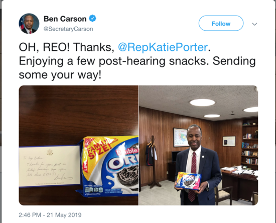 Ben Carson poses with Oreos and a note to Rep. Katie Porter