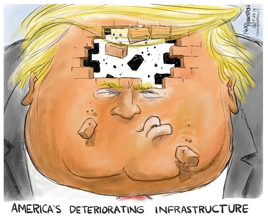 political cartoon about Trump's collapsing fortunes