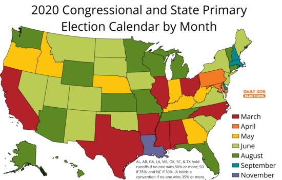 Congressional Calendar 2020 Daily Kos Elections 2020 primary calendar