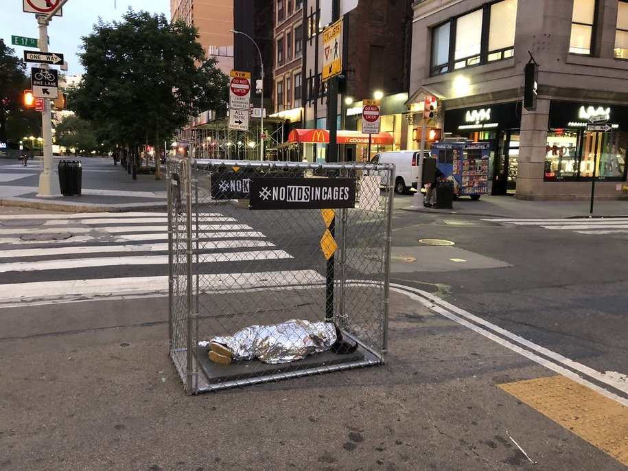 NYC pop-up installation with children in cages and heartbreaking audio is getting national attention