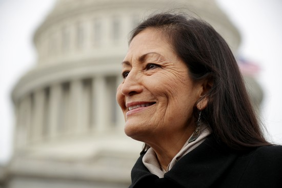 WASHINGTON, DC - JANUARY 04: Rep. Debra Haaland (D-NM) talks with reporters after a portrait with her fellow House Democratic women in front of the U.S. Capitol January 04, 2019 in Washington, DC. The 116th Congress has the biggest number of female members ever while the number of Democratic women in the House has grown from 16 to 89 since 1989. (Photo by Chip Somodevilla/Getty Images)