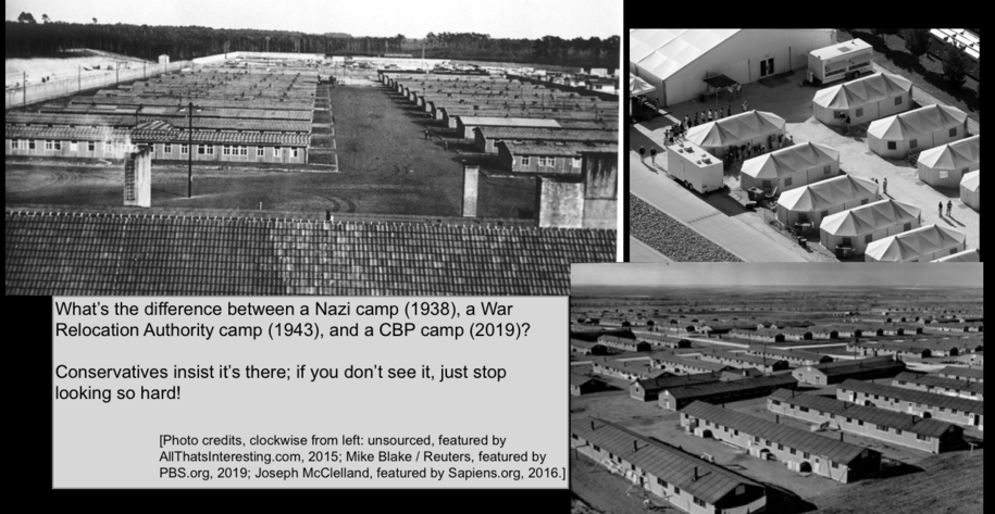FDR's camps = Trump's camps. Put defenders on the spot about actual detention conditions back then.