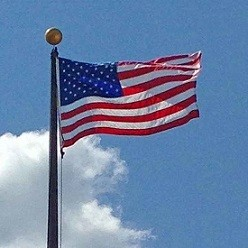 US Flag against blue sky. [Size small, 248 x 248] Tags Good News Gnus