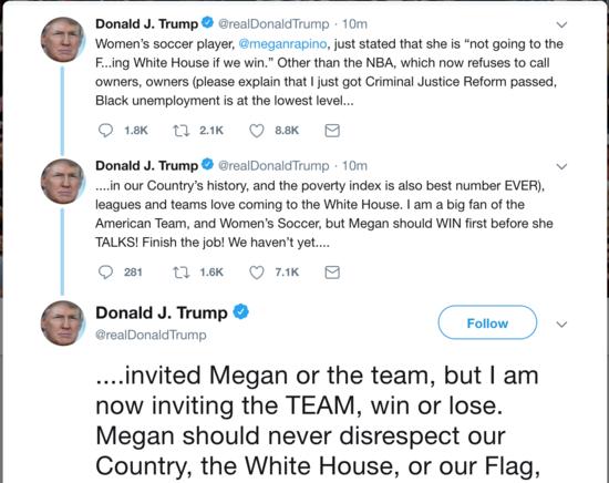 Trump tweeting at Megan Rapinoe