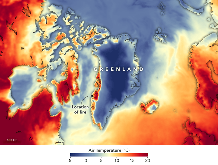 Greenland is on fire, again.
