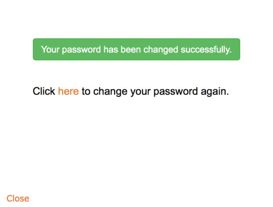 Password Change Confirmation Message