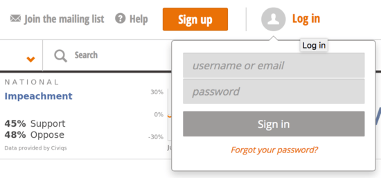 Login Popup with Forgot Your Password link
