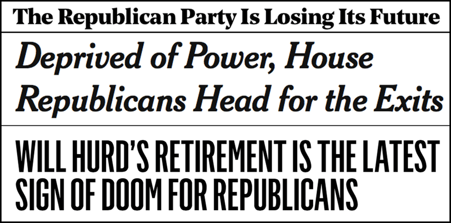 Abbreviated pundit roundup: House Republicans head for the exits