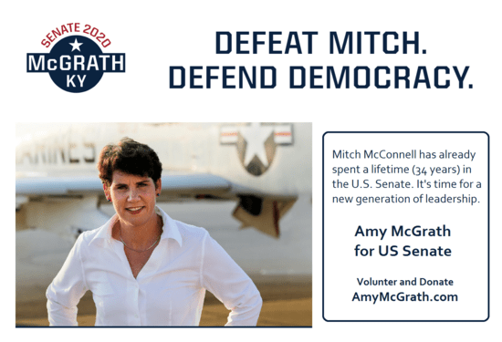 Graphic created from images from the 2020 US Senate campaign website of Amy McGrath for US Senate 2020.