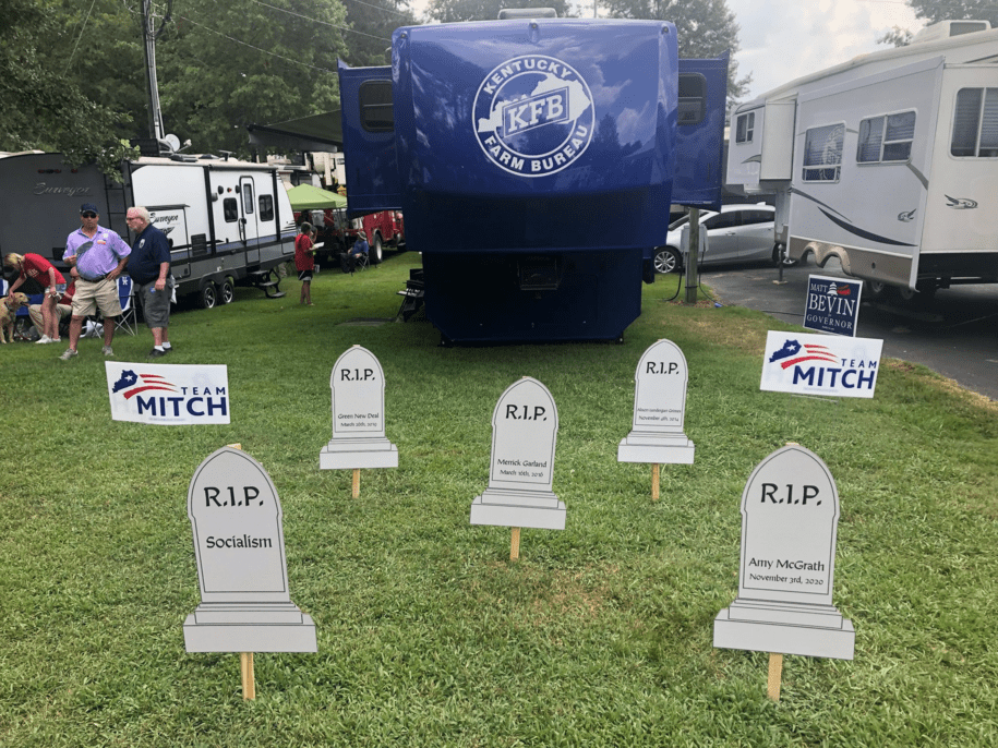 Hours after El Paso shooting, Mitch McConnell tweeted photo of a graveyard with name of his opponent