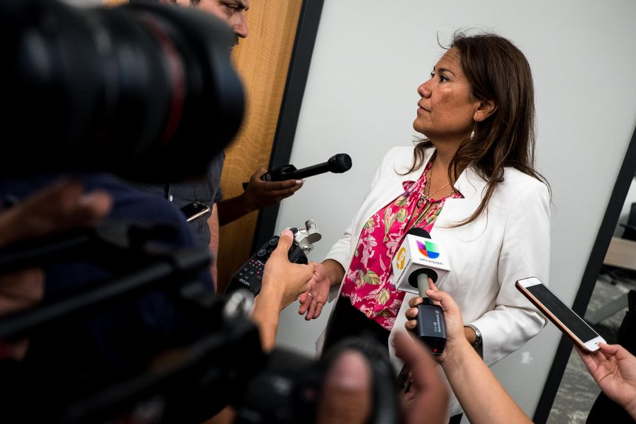 Representative Veronica Escobar (D-TX) answers questions after a press briefing, following a mass fatal shooting, at the El Paso Regional Communications Center in El Paso, Texas, on August 3, 2019. - A gunman armed with an assault rifle killed 20 people Saturday when he opened fire on shoppers at a packed Walmart store in the latest mass shooting in the United States. (Photo by Joel Angel JUAREZ / AFP) (Photo credit should read JOEL ANGEL JUAREZ/AFP/Getty Images)