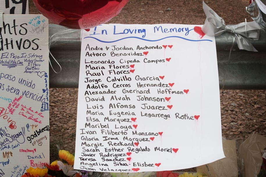 The names of the victims adorn a makeshift memorial at the Cielo Vista Mall Walmart in El Paso, Texas, on August 6, 2019. - The August 3 shooting left 22 people dead. US President Donald Trump will visit the Texan border city August 7, and will also travel to Dayton, Ohio where a second mass shooting early August 4 left another nine dead. (Photo by Mark RALSTON / AFP) (Photo credit should read MARK RALSTON/AFP/Getty Images)