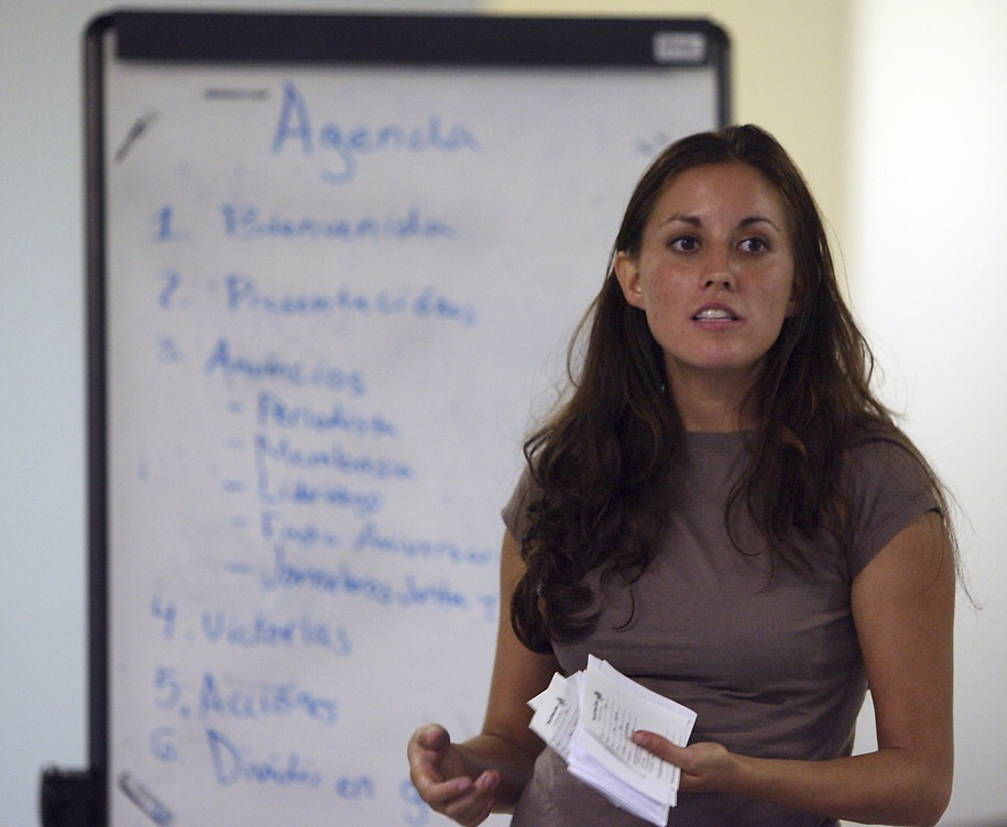 File-This photo taken Sept. 19, 2007, shows Cristina Tzintzun speaking to a group of Mexican immigrants during a meeting of an immigrant workers advocacy group, Proytecto Defenso Laboral in Austin, Texas. The founder of a Latino progressive group in Texas is joining the growing list of Democrats lining up to challenge Republican Sen. John Cornyn in 2020. Tzintzún Ramirez launched her U.S. Senate campaign Monday, Aug. 12, 2019. She's the founder of a Latino voter mobilization effort called the Jolt Initiative. (Larry Kolvoord/Austin American-Statesman via AP, File)