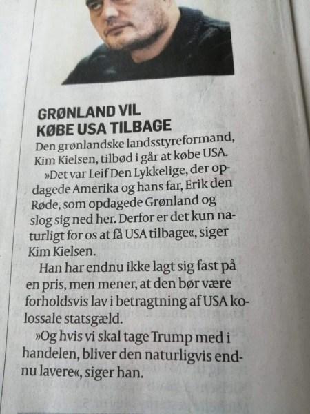 Premier of Greenland: Greenland considering buying America