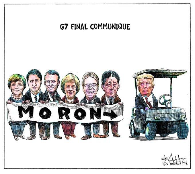 Trump at G-7 - no major gaffes so far.