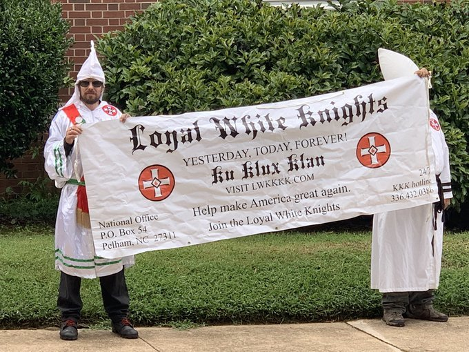 KKK in Hillsborough NC today. The actual Klan.