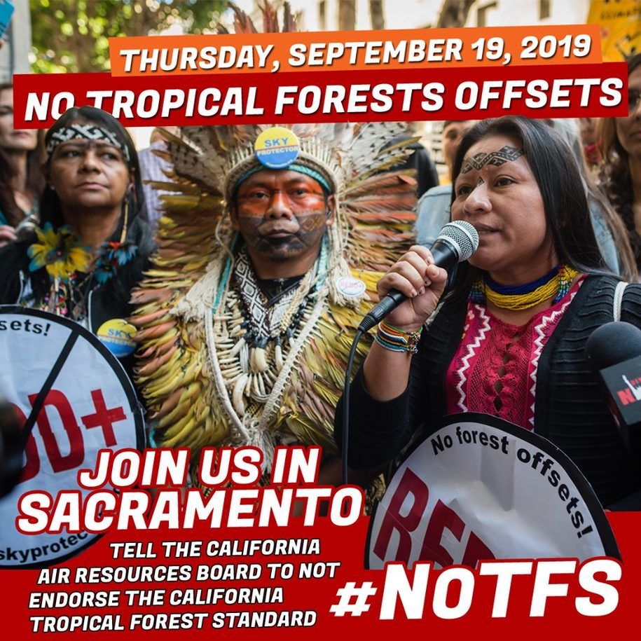 Climate Justice Alliance Action Alert: 'No Tropical Forests Offsets - Join Us In Sacramento 9/19/19'