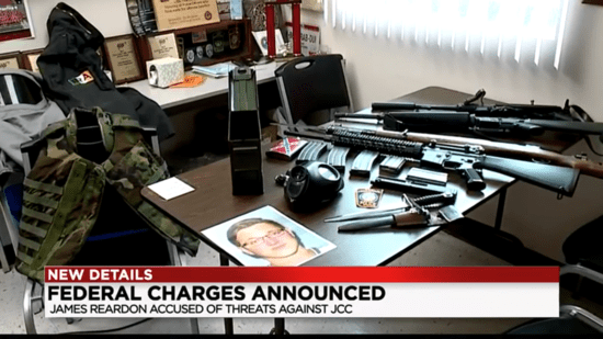 Police show media the cache of weapons found while executing a search warrant on the home of James Reardon, Jr. on August 16, 2019