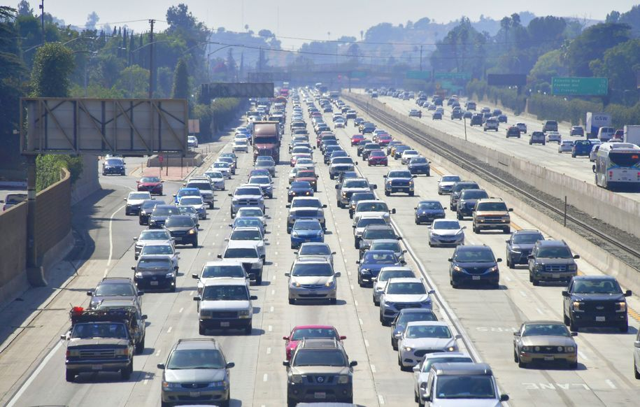 Auto traffic flows in and out of Los Angeles, California, one of the worst traffic-congested cities in the country, on August 28, 2018. - Shares of big US automakers rose on news the US and Mexico reached a deal to update the 25-year North American Free Trade Agreement, pending Congressional approval. (Photo by Frederic J. BROWN / AFP) (Photo credit should read FREDERIC J. BROWN/AFP/Getty Images)