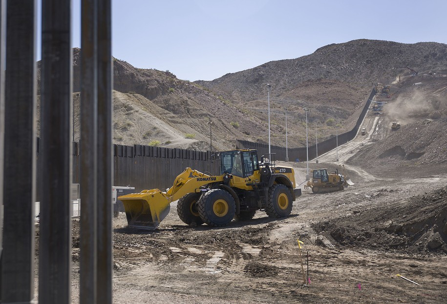 SUNLAND PARK, NM - JUNE 01: Construction crews work on a border wall being put in place by We Build The Wall Inc. on June 01, 2019 in Sunland Park, New Mexico. We Build the Wall is a non-profit organization that is funding the private construction of the border wall in an attempt, they say, to stem the flow of migrants and others from coming across the border illegally from Mexico into the United States. (Photo by Joe Raedle/Getty Images)