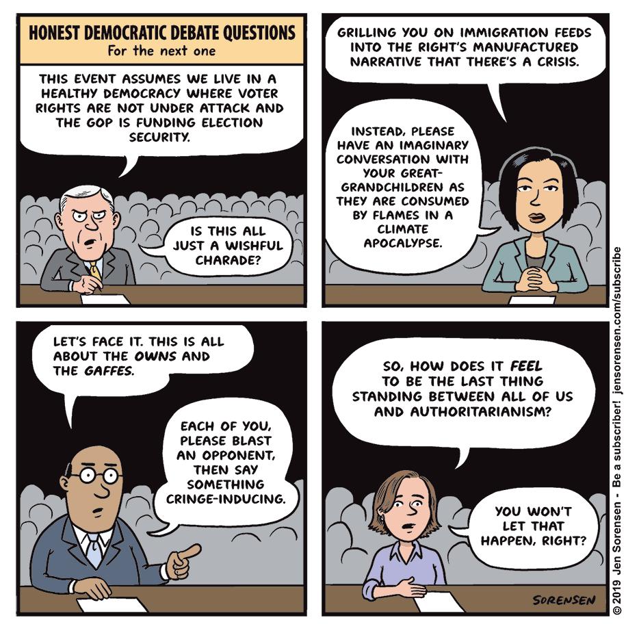 Cartoon: Honest Democratic debate questions