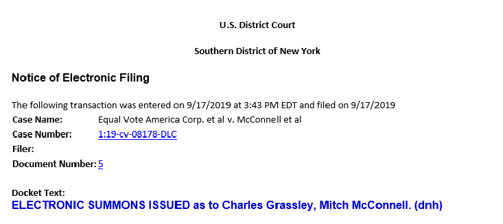The Court Has Issued Summons to McConnell related to the Garland Nomination